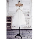 Discount Empire Sweetheart Short Beach Organza Wedding Dresses with Beaded Waist