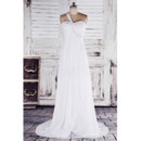 Simple Empire One Shoulder Sweep Train Chiffon Wedding Dresses with Button Back