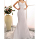 Exquisite Sheath Sweetheart Chapel Train Chiffon Wedding Dresses with 3D Flowers Detail