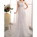 Glamorous Beaded Empire Sheath Straps Lace Wedding Dresses with All Over Tulle