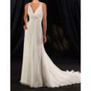 Sexy Sheath V-Neck Court Train Chiffon Wedding Dresses with Ruched Bodice/ Discount Beaded Waist Bride Gowns for Summer Beach