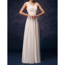 Elegant Column V-Neck Long Pleated Lace Chiffon Bridesmaid Dresses