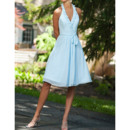 Discount Ruffled Halter V-Neck Knee Length Chiffon Bridesmaid Dresses with Sash