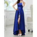 Stylish Strapless Sleeveless High-Low Satin Evening Dresses with Rhinestone