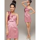 Inexpensive Column One Shoulder Mini Satin Homecoming Dresses