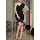 Simple Column One Shoulder Mini Chiffon Satin Black Homecoming Dresses