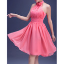 Pretty A-Line Halter Short Chiffon Pleated Homecoming Party Dresses with Flowers