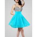 Dramatic Sexy V-Neck Short Chiffon Homecoming Dresses with Shiny Colored Beads