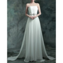Elegant Strapless Sleeveless Sweep Train Chiffon Pleated Wedding Dresses with Rhinestone and 3D Flowers