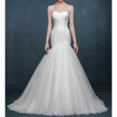 Sexy Mermaid Sweetheart Sleeveless Sweep Train Tulle Wedding Dresses