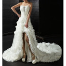 Romantic Chic High-Low Chapel Train Wedding Dresses with Ruffled Organza Detail