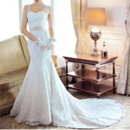 Elegant Trumpet Sweetheart Straps Lace Chapel Train Wedding Dresses with Belt and Crystal Detailing