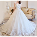 Gorgeous Illusion Neckline Ball Gown Tulle Wedding Dresses with Slight Cap Sleeves