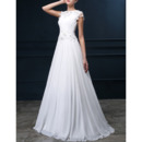 Elegant A-Line Pleated Chiffon Wedding Dresses with Keyhole and Beaded Applique