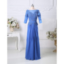 Bateau Floor Length Organza Mother Dresses with 3/4 Sleeves