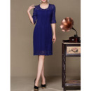 Knee Length Lace Pleated Mother Dresses with Half Sleeves