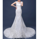 Dramatic Court Train Tulle Applique Beaded Wedding Dresses/ Mermaid/ Trumpet Low Back Bride Gowns