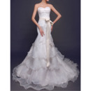 Charming Sweetheart Layered Skirt Organza Wedding Dress with Sashes/ Perfect Lace Bodice Bride Gowns