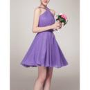Sexy A-Line Halter Sleeveless Mini/ Short Chiffon Bridesmaid Dresses
