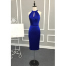 Affordable Sexy Column Halter Knee Length Satin Cocktail Dresses