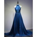 Inexpensive Halter Long Satin Backless Evening/ Prom/ Formal Dresses