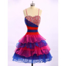 Cute Ball Gown Spaghetti Straps Knee Length Colorful Homecoming Dress