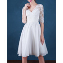 Discount V-Neck Short Chiffon Pleated Wedding Dresses with Half Sleeves/ Inexpensive Reception Appliques Bride Gowns