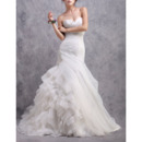 Glamorous Ruched Sweetheart Organza Wedding Dresses with Breathtaking Layered Skirt
