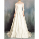 Elegantly Off-the-shoulder Satin Wedding Dresses with Lace Bodice and Half Sleeves