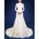 Perfect Appliques Crew Neck Tulle Wedding Dresses with Long Illusion Sleeves and Open Back