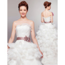 Gorgeous Strapless Organza Wedding Dresses with Breathtaking Layered Skirt