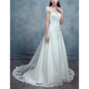 Elegantly Beading Appliques Illusion Neckline Tulle Wedding Dress with Cap Sleeves