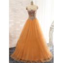 Custom Ball Gwon Sweetheart Floor Length Satin Tulle Evening Dresses