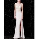 Dramatic Double V-Neck Prom / Formal Evening Dresses with Crystal Beading Embellished Bodice