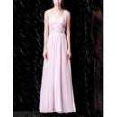 Seductive Wide Straps Pleated Chiffon Evening Dresses with Beading Embellished Waist