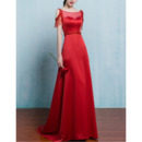 Elegance Illusion Neckline Red Evening Dresses with Exposed-Shoulder and Beading Fringe Detail