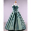 Pretty Straps Full Length Taffeta Little Girls Party Dresses/ Discount Flower Girl Dresses with Handmade Flowers