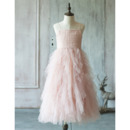 Inexpensive Couture Spaghetti Straps Long Ruffle Skirt Tulle Flower Girl Dresses