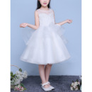 Pretty Cute Ball Gown Illusion Neckline Sleeveless Knee Length Organza Flower Girl Dresses with Open Back