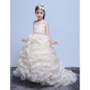Gorgeous Beautiful Court Train Ruffles Skirt Flower Girl Dresses with Belts and Beadings