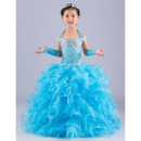 Gorgeous Ball Gown Halter Long Ruffled Tiered Flower Girl Dresses/ Luxury Crystal Rhinestone Girls Party Dresses
