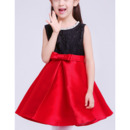 Simple Discount Two Tone A-Line Sleeveless Short Lace & Satin Flower Girl Dresses with Pleated Skirt