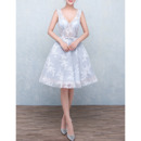 A-Line V-Neck Knee Length Organza Homecoming Dresses
