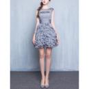 Custom Sleeveless Short Chiffon Ruffle Skirt Homecoming Dresses