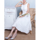 Discount A-Line Sleeveless Tea Length Lace Wedding Dresses with Cutout Waist