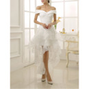 Beautiful Off-the-shoulder Knee Length Lace Wedding Dresses with Tiered Skirt