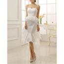Chic Mermaid Knee Length Satin Wedding Dresses with Organza Overlay Skirt
