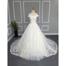 Princess Ball Gown Off-the-shoulder Lace Over Tulle Wedding Dresses