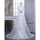 Elegantly V-Neck Tulle Wedding Dresses with Beaded Appliques and Overlay Skirt