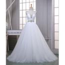 Sparkle & Shine Crystal Embellished Tulle Wedding Dress with wide Illusion Shoulder Straps